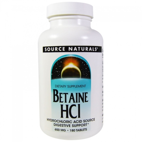 Betaine HCI (with Pepsin) - 650mg 180 tablets - Source Naturals