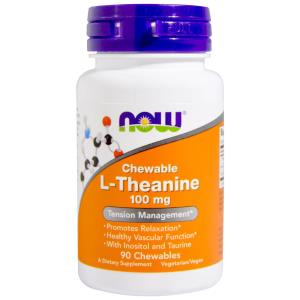 L-Theanine, 100 mg, 90 Chewables - Now Foods,